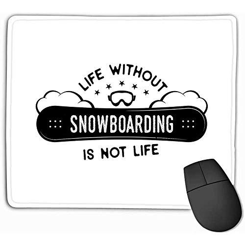 Family Mouse Pad,Standaardformaat Rechthoek Niet-slip Rubber Mousepad 30X25CM Snowboard Winter Logo Leven Snowboarden niet Leven Quote Bergen Avonturier Snowboarders Snowboard