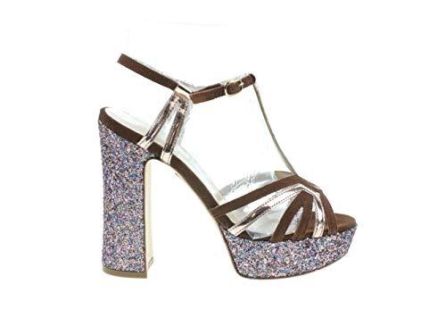 Konstantin Starke Damen Schuhe Sandalette Blockabsatz Absatzschuhe Bunt Leder, Größe:38.5