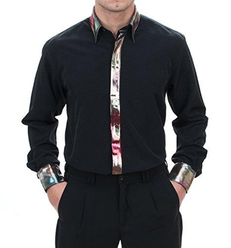 Bekleidung & Accessoires für Musiker, HK Mandel Bühnen-und Showgarderobe Langarm Hemd in Schwarz, Normal Nicht Tailliert Größe XL