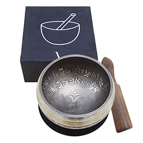 Cuenco Tibetano 7 Metales Diámetro de 10 Cm Cuenco sonoro Om Ohm con Bonita Decoración Autentico Singing Bowl Nepal con Mazo y cojín