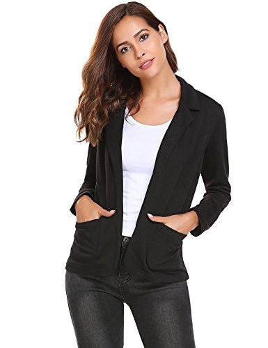 Damen Blazer Cardigan Kurzjacke Lange Arm tailliert mit Taschen, Schwarz - M