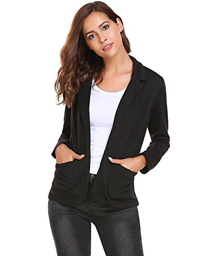 Damen Blazer Cardigan Kurzjacke Lange Arm tailliert mit Taschen, Schwarz - L
