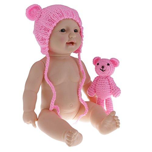 Homyl 50cm Realistisches Silikon Babypuppe Weiches Vinyl Neugeborenen Mädchen / Junge Puppen Spielzeug - Dunkelrosa, Mädchen
