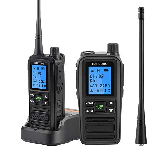 SANZUCO Two Way Radios Rechargeable,5 Watt Programmable 2 Way Radio Walkie Talkies, Long Range UHF Business Radio with Announcement Function, Walkie Talkies with Vox and User Name Editing (2 Pack)