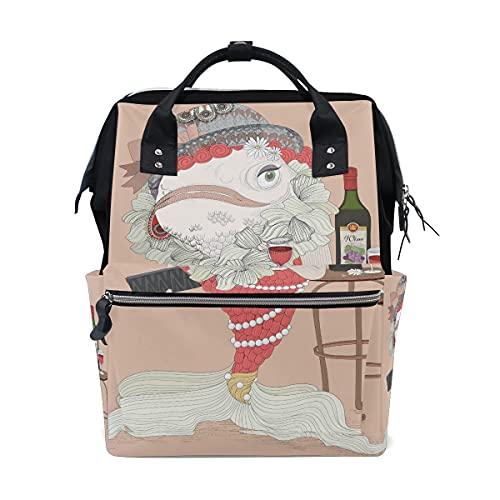 LDIYEU Sirena Vino Tinto Belleza Bolsa Compra Reutilizables Bolsas de Mano para Trabajo Escuela Comestibles Plegables de Playa para Mujeres Niñas