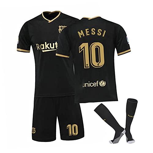 メッシ#10メンズサッカージャージーサッカーシャツ、バルセロナサッカートレーニングスーツ、快適な半袖とショーツセット black-18