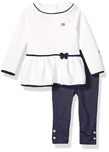 Calvin Klein – Juego de 2 Leggings para bebé, Vainilla/Azul Marino, 3-6 Meses