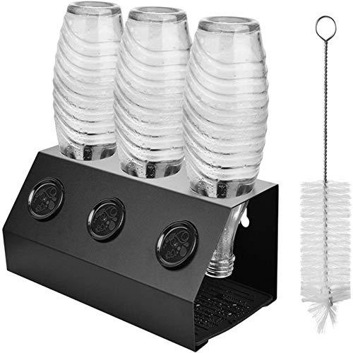 LQKYWNA Escurridor De Botellas De Refresco Botellas De Aluminio Soporte De Rejilla De Secado con Almohadilla De Drenaje De Silicona Extraíble para Almacenamiento En El Fregadero De La Cocina