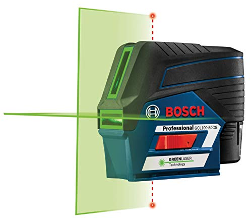 Bosch GCL100-80CG 12V Green-Beam Cross-Line Laser Level with Plumb...
