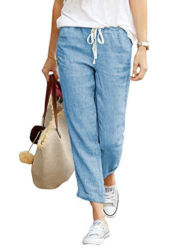 N\C Hose Damen Sommer Leinenhose Casual Stoffhose Einfarbig Freizeithose Elastischer Bund Hose Mit Taschen (A Blau, XL)