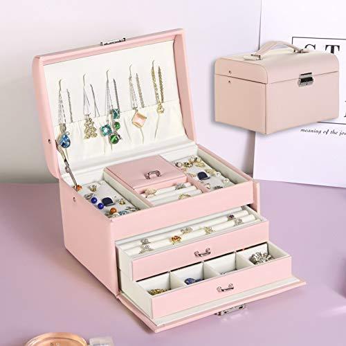 Joyero con gran capacidad, adorno para orejas, simple y exquisito, para el hogar, joyería de gama alta, color rosa