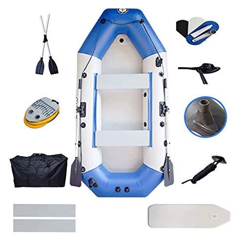 Lixiabeidai Raft Schlauchboot für 4 Personen, tragbares Fischerboot, Tarnkajak mit Rudern und Luftpumpe , Boot Angeln Jagen oder Spielen auf Seen Flüssen und Wildwasser Stromschnellen,Blue-(4 People)
