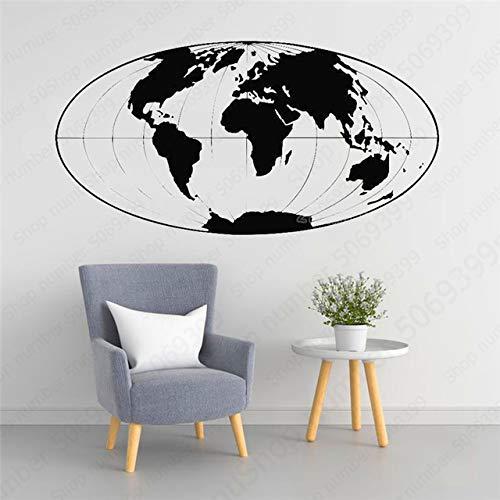 Wereldkaart in de vorm van de aarde, wandstickers, decoratie voor thuis, woonkamer, slaapkamer, vinyl 106X57CM Blanco Y Gris