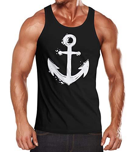 Neverless® Herren Tank-Top mit maritimem Anker Motiv Muskelshirt Muscle Shirt schwarz L