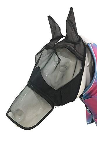Sunwin - Maschera Anti-Mosche per Cavalli, con Orecchie e Naso, con Cerniera, Design Staccabile