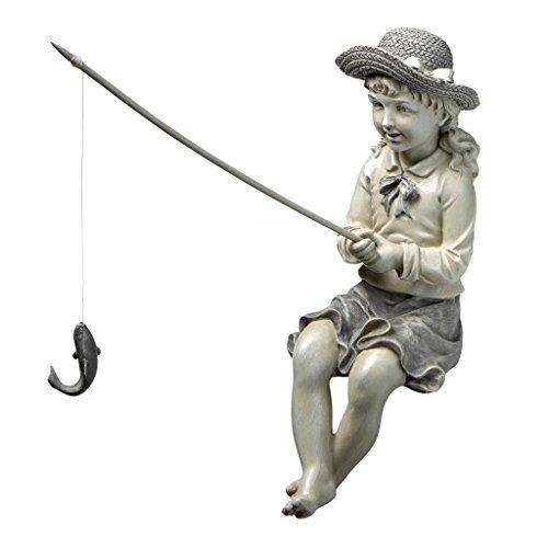 Design Toscano EU9305 Big Catch Fisherwoman Girl Fishing Garden Statue, 11 Inch, Two Tone Stone