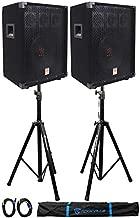 (2)Rockville RSG10 10 400 Watt 2Way 8-Ohm Passive DJ PA Speaker +Stands +Cables