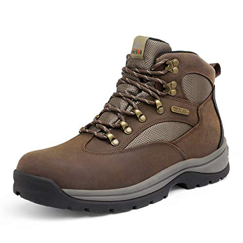 NORTIV 8 Men's Safety Steel Toe Work Boots Waterproof Construction Boots Brown Size 8 M US Rockfor-STL