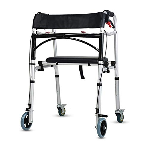 M-YN Andador para Ancianos Andador 4 Ruedas con Freno Ajustable, portátil con Asiento de Ancianos Ayuda for Caminar Handicap
