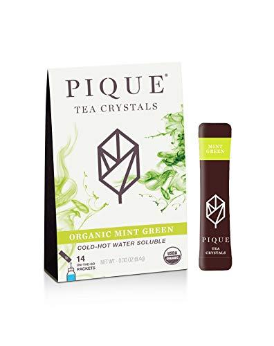 Pique Tea Organic Mint Sencha Green Tea Crystals - Immune Support, Gut Health, Fasting - 14 Single...