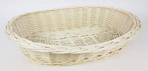 Tigana - Weidenkorb mit Zopfrand Hundekorb aus Vollweide in Weiß 50 cm (ohne Kissen)