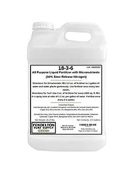 18-3-6 Liquid Fertilizer  50% SRN & Micronutrients   2.5 Gallons