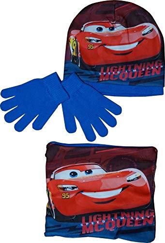 Disney Pixar Cars Lightning Mc Queen Winter Mütze, Handschuhe und Schlauchschal Lightning Blau 52 cm