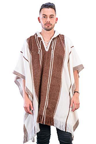 INTI ALPACA Alpaka Poncho mit Kapuze - Streifen Loden Umhang für Herren aus Alpaka Wolle- - Poncho Cape Mantel für den Winter - Weiß und Braun - Einheitsgröße