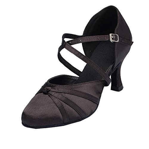 MINITOO Damen Latin Salsa Ankle Strap Bronze Satin Tanzschuhe Hochzeit Prom Pumps EU 40