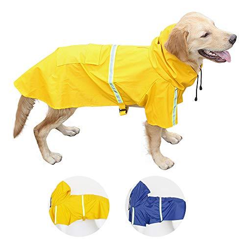 Perro Chubasqueros-Abrigo Impermeable para Perros Ligero con Tira Reflectante para Perros medianos Grandes pequeños (Amarillo XL)