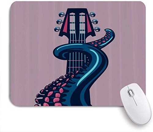MUYIXUAN Mauspad - Octopus Marine Animal Play Gitarre Riff Instrument Rock Moderne Kunst - Gaming und Office rutschfeste Gummibasis Mauspads,240×200×3mm