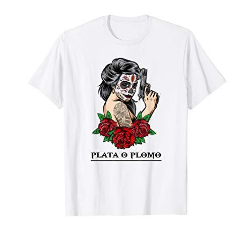 Lustiges Mafia Frau Outfit | Plata O Plomo Shirt Mafiabraut T-Shirt
