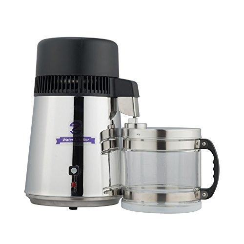 CO-Z Wasser Distiller 750W Pure Wasserdestilliergerät Edelstahl 4L Destilliergerät Wasserdestillierer mit Glas Sammelkanne (Silber)