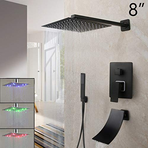 HSIYE,Baño Set,Negro 8-16 Pulgadas Ducha de Lluvia Baño Grifo de Ducha Bañera Cuadrado de Lluvia Luz LED Cabezal de Ducha Juego de grifos de Ducha, 8 Pulgadas LED A