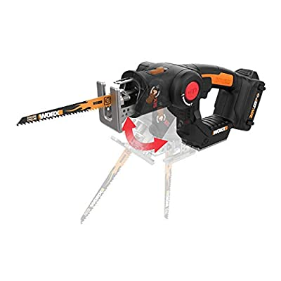 WORX WX550L 20V AXIS 2-in-1 Reciprocating Saw and Jigsaw with Orbital Mode, Variable Speed and Tool-Free Blade Change from WORX