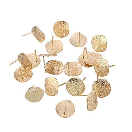 SUPVOX 20PC lega orecchini post base in bianco con orecchini perni fai da te per fare gioielli fai da te (oro)