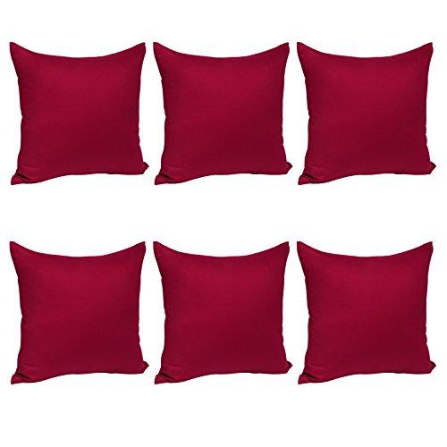 WOLTU® KB5150bdQ2-3, 6X Kissenbezug Kissenhülle 100% Baumwolle mit Reissverschluss, 6er Set Sofakissen Dekokissen Kopfkissen Hülle Bezüge Bezug, 35x35 cm, Bordeaux