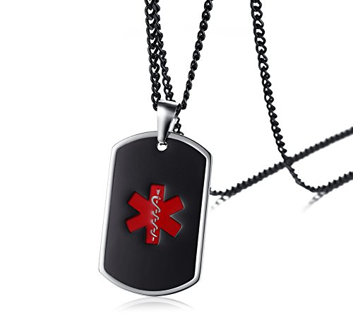 Read About PJ Jewelry Personalized Medical Alert ID Custom Engraving Dog tag Pendant Necklace for Men,Free 24″ Chain