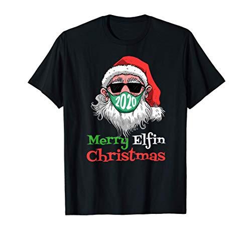 2020 Feliz Navidad Elfin Papá Noel Mascarilla Familia A Camiseta