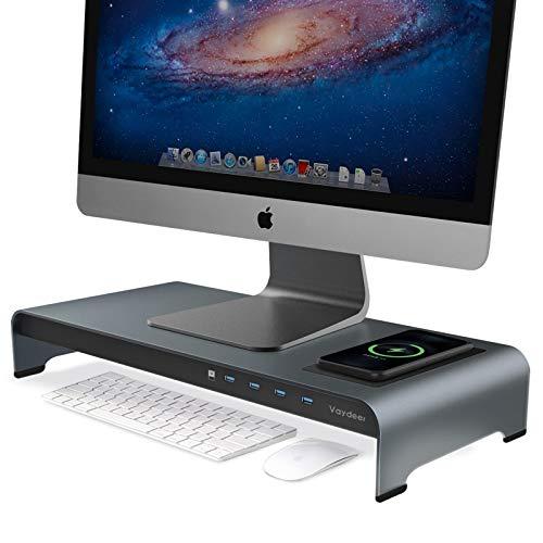 Vaydeer USB 3.0 Monitorständer mit kabelloser Aufladung Aluminium Monitor Stand Riser Unterstützt Datenübertragung, Metall Monitor Ständer Unterstützt bis zu 32 Zoll für Computer, Laptop - Grau