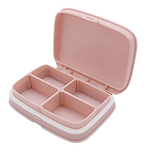 HRX Package Little Cute Pill Box Moisture Proof, Portable Pocket Pill Case Carrier Medicine Organizer with 4 Detachable Deep Compartments (Pink)