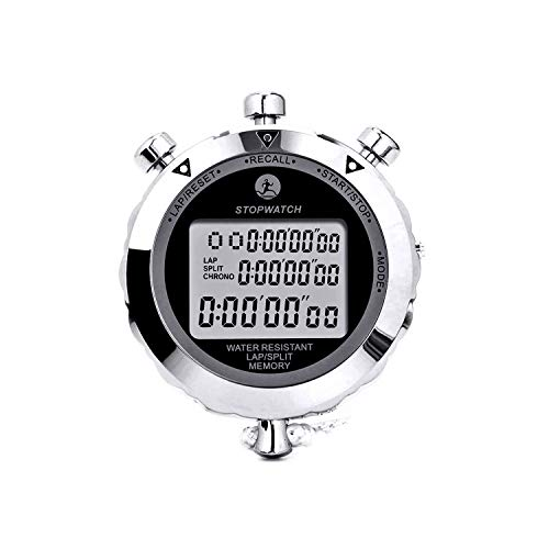 Rolilink Stopwatch Metal Stop Watch Timer 30 Lap Memory Coach Sports Timer for Competitions, Games