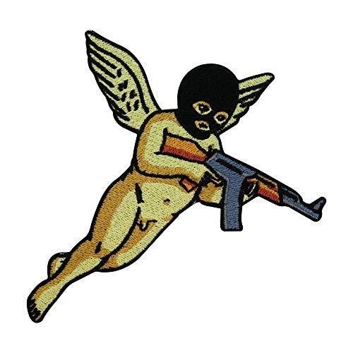Finally Home Bad Angel Patch zum Aufbügeln | Engel mit Waffe und Flügeln Patches, Bügelflicken, Flicken, Aufnäher geeignet für Lederjacken