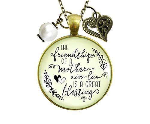 gutsy goodness friend pendants Gutsy Goodness Mother In Law Necklace Friendship Is Great Blessing Meaningful New Mom Wedding Jewelry 24