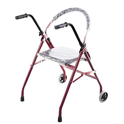 LXDDJZXQ Andador para Ancianos Walker, Andador Plegable con Ruedas con Asiento Doble reposabrazos Old Walker Trípode 65 × 63 × 77 (87) cm Silla de Ruedas