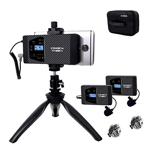Comica CVM-WS60 Combo Smartphone Wireless Lavalier Lapel Microphone with Rechargeable Battery, 194ft Working Range, Wireless Lav mics for iPhone X,11 Pro,Samsung Huawei Android Phones, Camera etc.