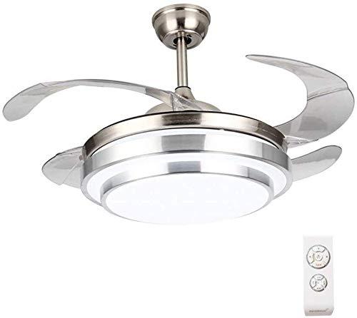 JIAN Exquisite Lighting ZjNhl Plafondventilator met modern licht, 4 inschuifbare messen, plafondventilator, kroonluchter met afstandsbediening, voor binnen- woon- en slaapkamer