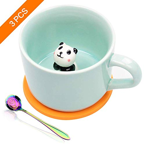 Ozazuco Cute 3D Panda Inside Coffee Mug Tea cup Funny Handmade White Ceramic Coffee Cup for Friends Roommate Family or Kids Animal Coffee Cup