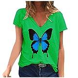 Camiseta de manga corta con estampado de mariposas, para mujer, de gran tamaño, cuello redondo, para adolescentes y niñas