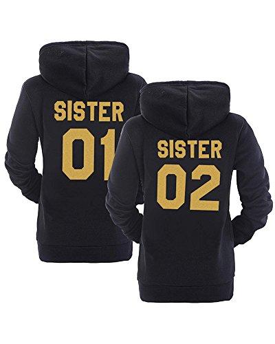 Best Friend Hoodie Beste Freunde Hoodies Für Zwei Damen Kapuzenpullis 2 Stücke Schwarz Gold Sister 01 DE 40